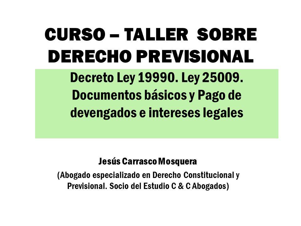CURSO – TALLER SOBRE DERECHO PREVISIONAL