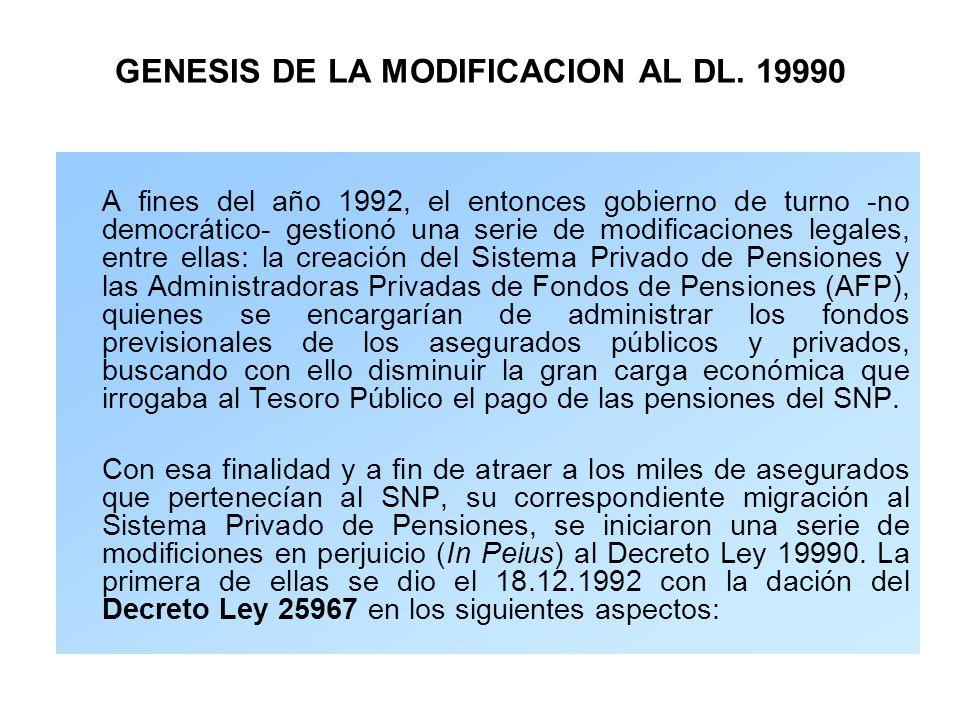 GENESIS DE LA MODIFICACION AL DL. 19990