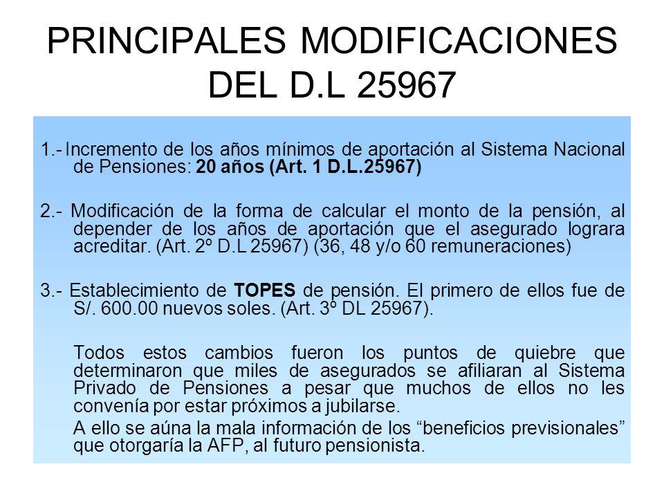 PRINCIPALES MODIFICACIONES DEL D.L 25967