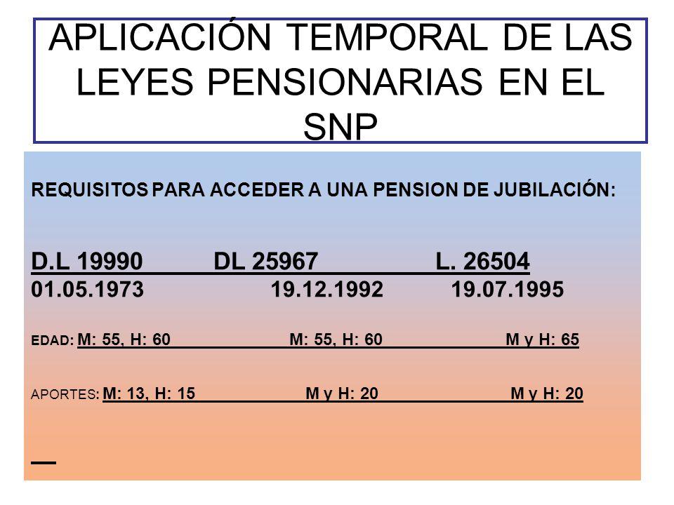 APLICACIÓN TEMPORAL DE LAS LEYES PENSIONARIAS EN EL SNP