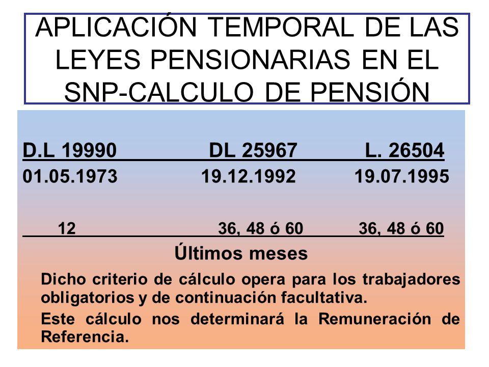 APLICACIÓN TEMPORAL DE LAS LEYES PENSIONARIAS EN EL SNP-CALCULO DE PENSIÓN