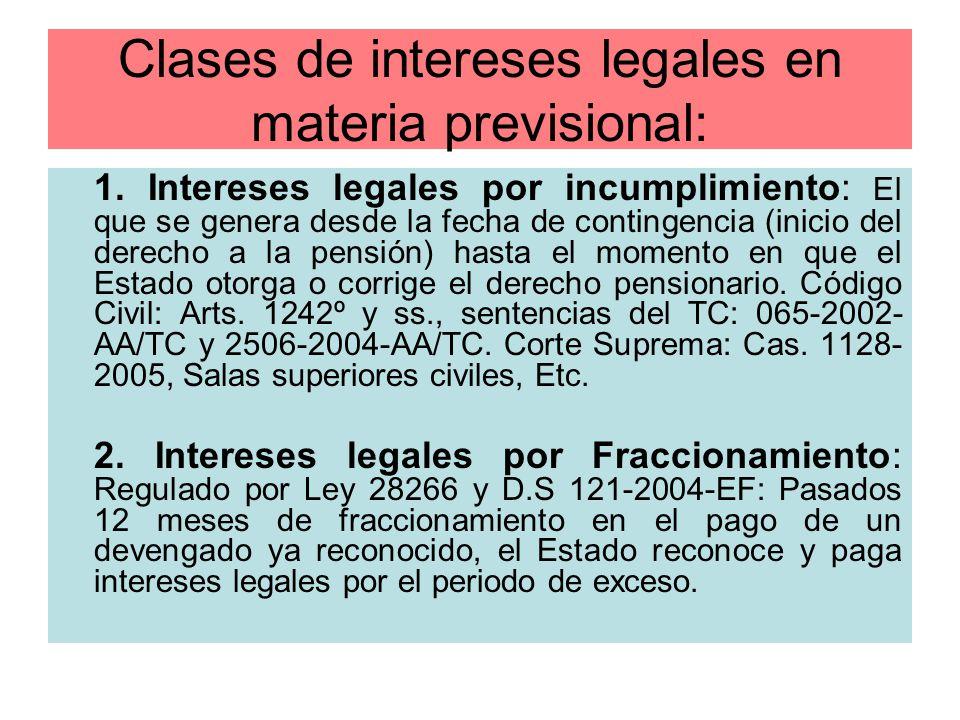 Clases de intereses legales en materia previsional:
