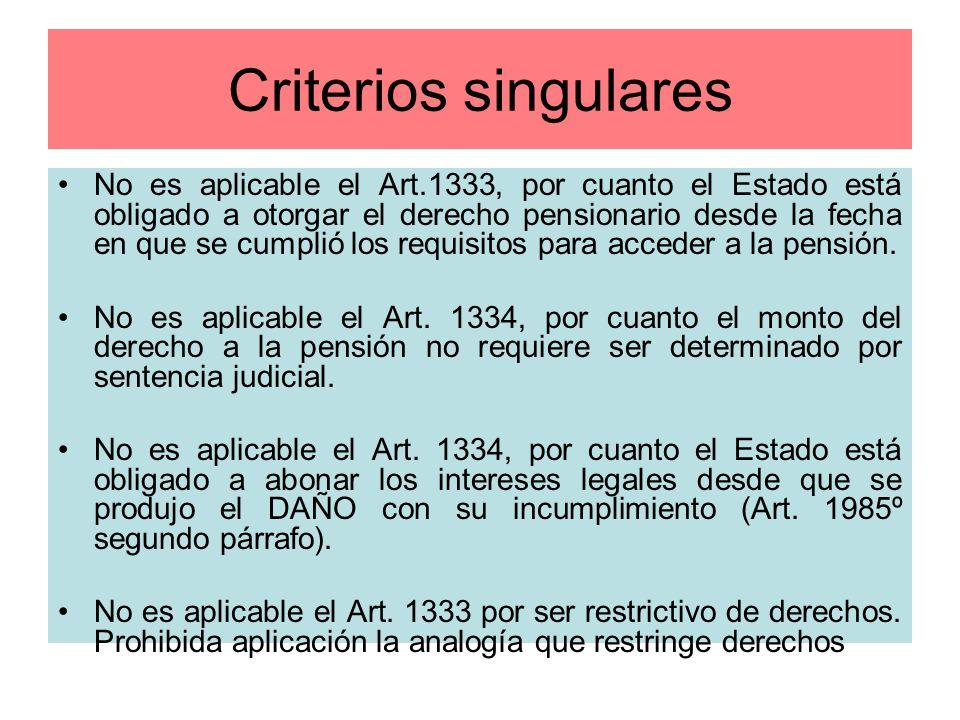 Criterios singulares