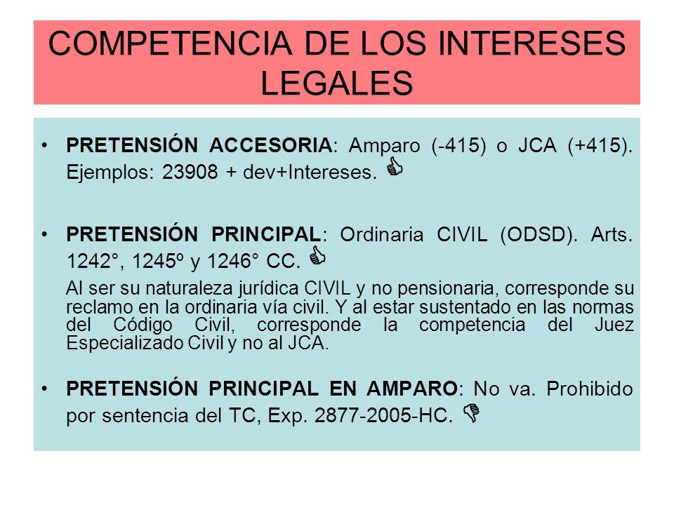 COMPETENCIA DE LOS INTERESES LEGALES