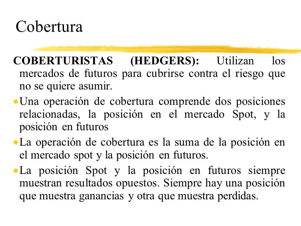 Cobertura COBERTURISTAS (HEDGERS): Utilizan los mercados de futuros para cubrirse contra el riesgo que no se quiere asumir.