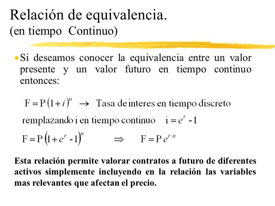 Relación de equivalencia. (en tiempo Continuo)