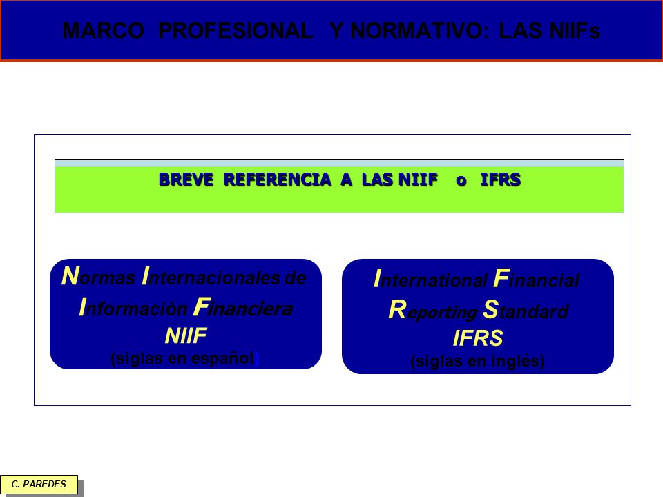 MARCO PROFESIONAL Y NORMATIVO: LAS NIIFs
