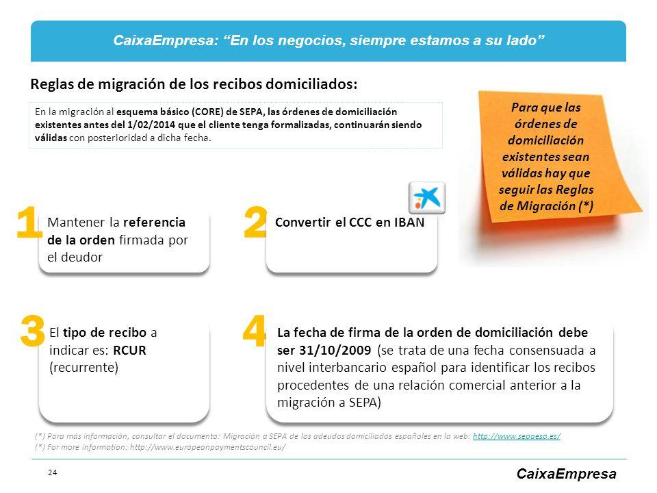 1 2 3 4 Reglas de migración de los recibos domiciliados: