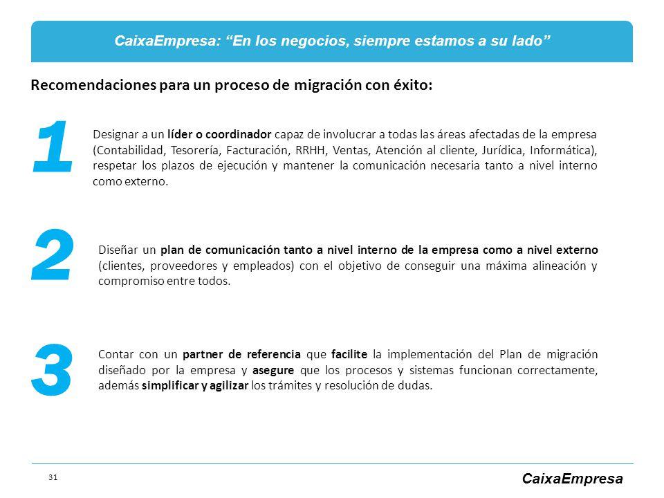 1 2 3 Recomendaciones para un proceso de migración con éxito:
