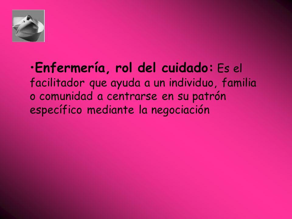 Enfermería, rol del cuidado: Es el facilitador que ayuda a un individuo, familia o comunidad a centrarse en su patrón específico mediante la negociación