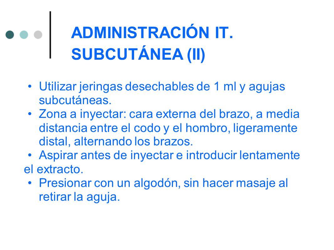 ADMINISTRACIÓN IT. SUBCUTÁNEA (II)