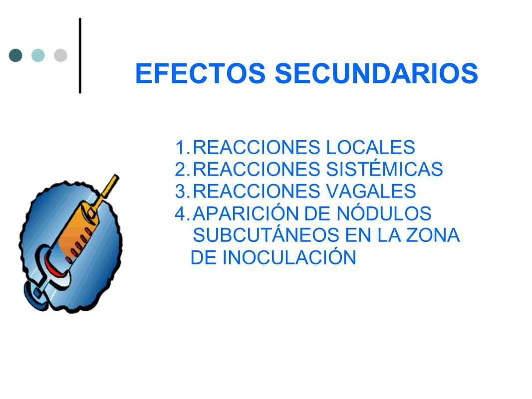 EFECTOS SECUNDARIOS REACCIONES LOCALES REACCIONES SISTÉMICAS
