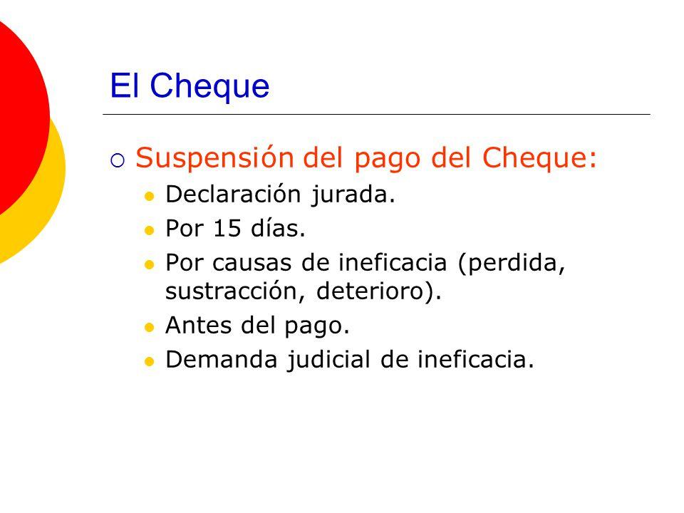 El Cheque Suspensión del pago del Cheque: Declaración jurada.