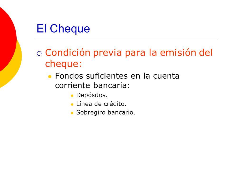 El Cheque Condición previa para la emisión del cheque: