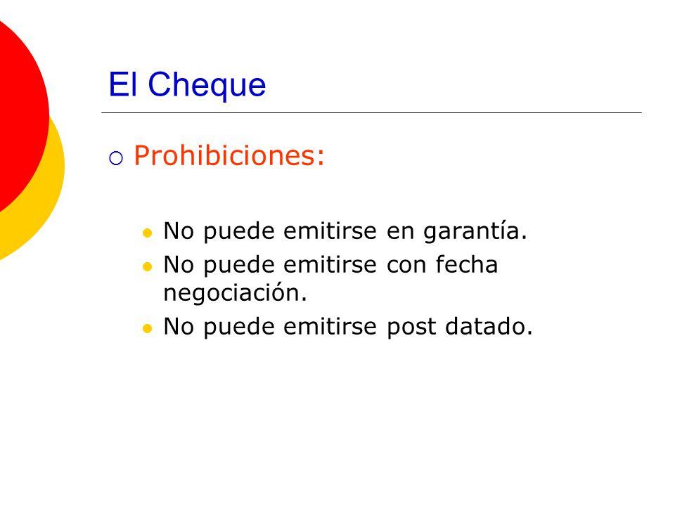El Cheque Prohibiciones: No puede emitirse en garantía.