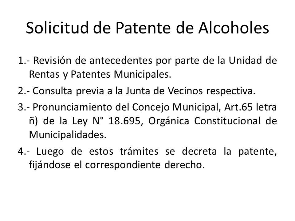 Solicitud de Patente de Alcoholes