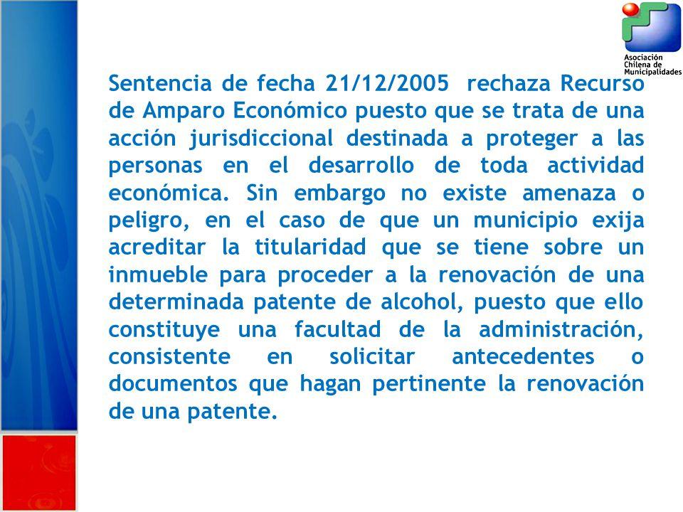 Sentencia de fecha 21/12/2005 rechaza Recurso de Amparo Económico puesto que se trata de una acción jurisdiccional destinada a proteger a las personas en el desarrollo de toda actividad económica.