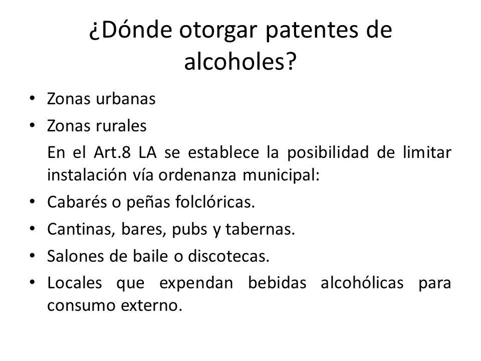 ¿Dónde otorgar patentes de alcoholes