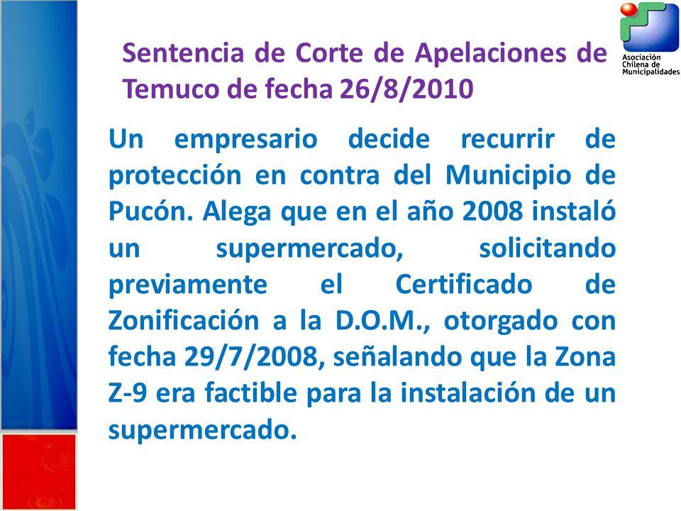 Sentencia de Corte de Apelaciones de Temuco de fecha 26/8/2010