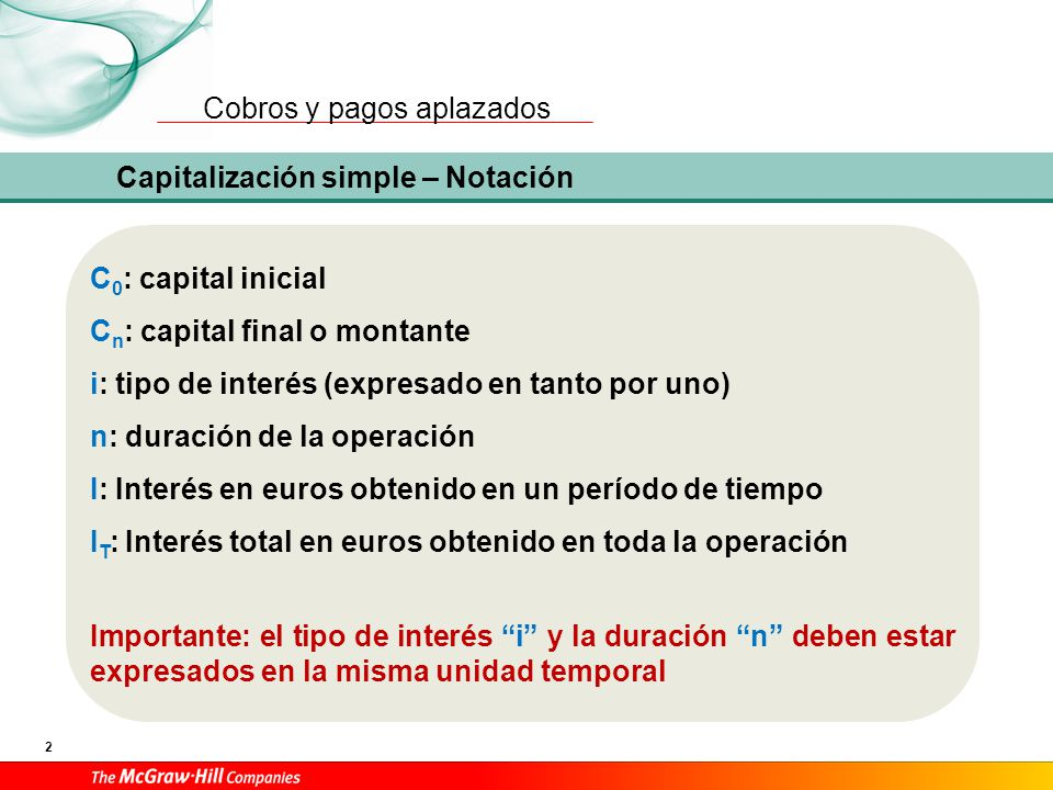 Capitalización simple – Fórmulas