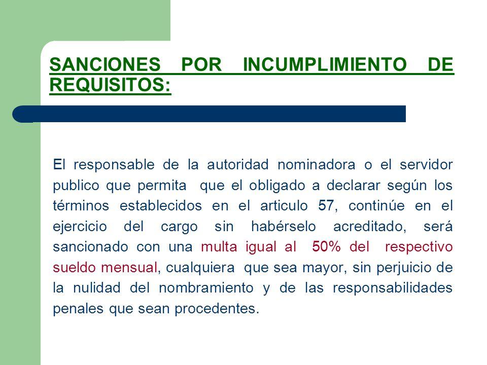 SANCIONES POR INCUMPLIMIENTO DE REQUISITOS: