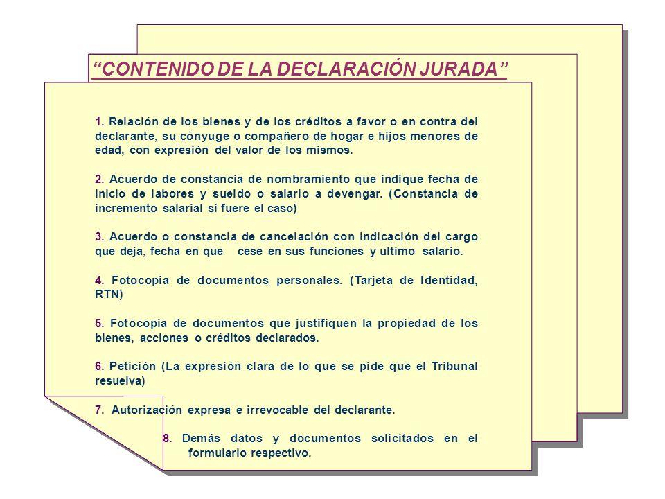 CONTENIDO DE LA DECLARACIÓN JURADA