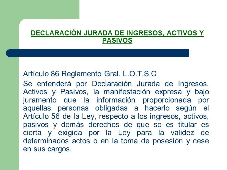 DECLARACIÓN JURADA DE INGRESOS, ACTIVOS Y PASIVOS