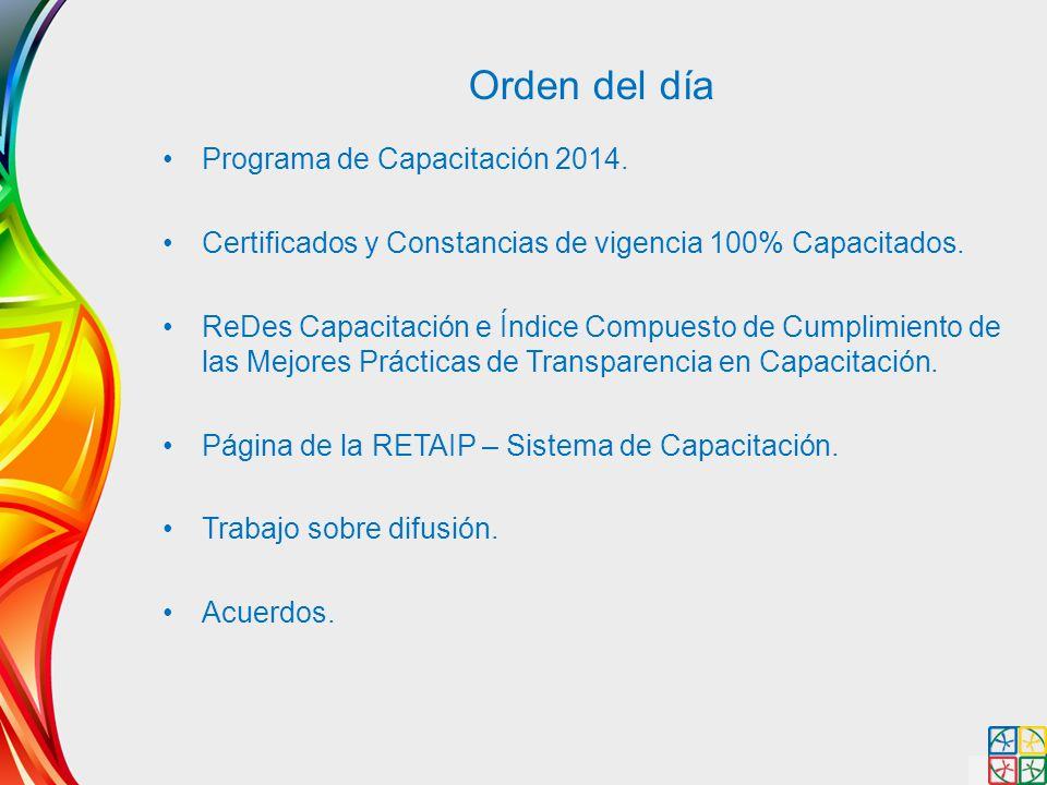 Orden del día Programa de Capacitación 2014.