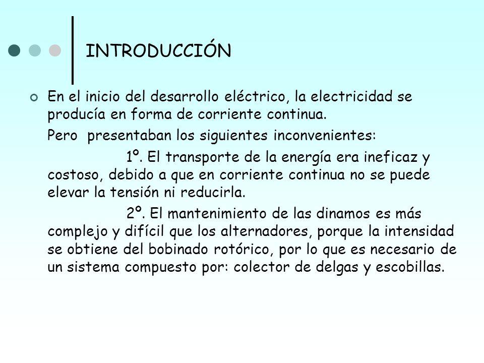 INTRODUCCIÓN En el inicio del desarrollo eléctrico, la electricidad se producía en forma de corriente continua.
