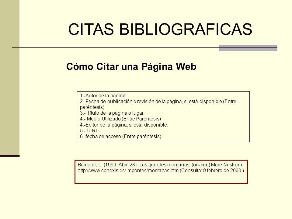 CITAS BIBLIOGRAFICAS Cómo Citar una Página Web 1.-Autor de la página.
