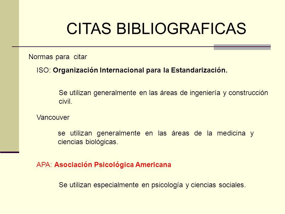 CITAS BIBLIOGRAFICAS Normas para citar
