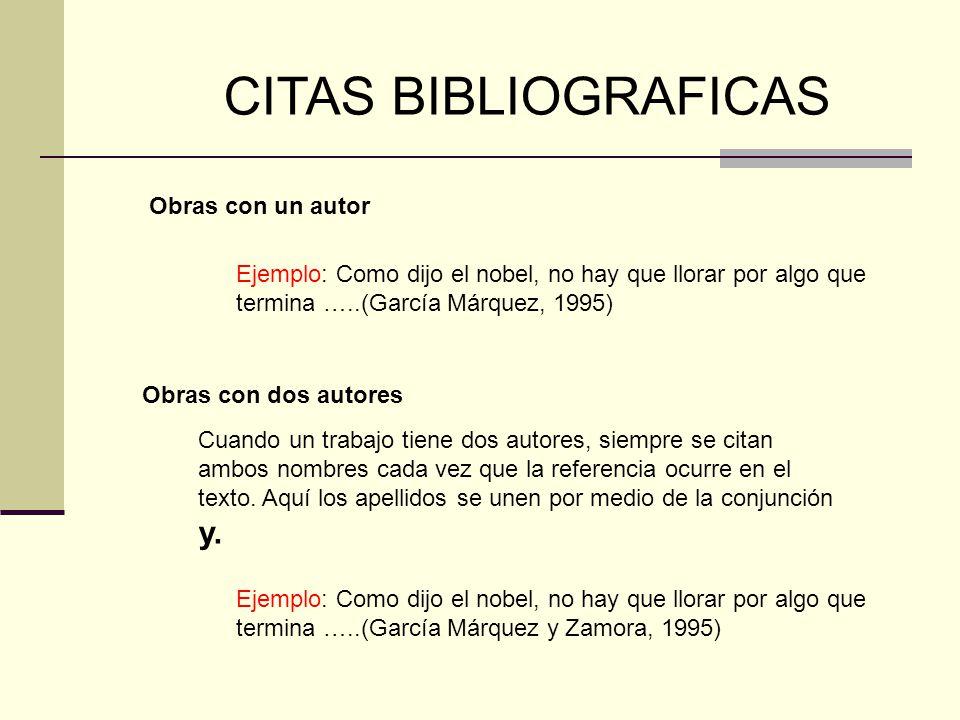 CITAS BIBLIOGRAFICAS Obras con un autor