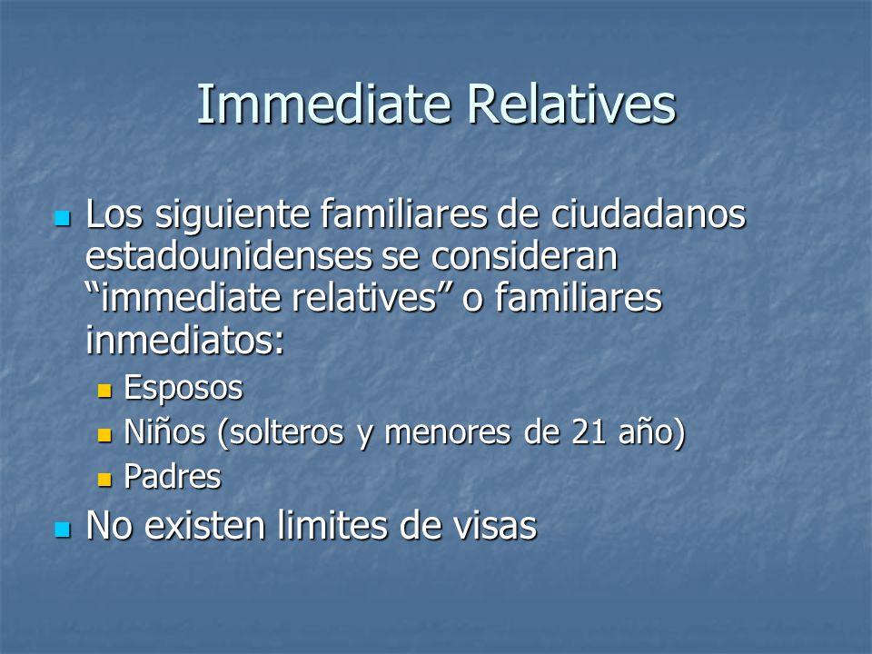 Immediate Relatives Los siguiente familiares de ciudadanos estadounidenses se consideran immediate relatives o familiares inmediatos: