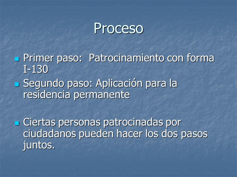 Proceso Primer paso: Patrocinamiento con forma I-130