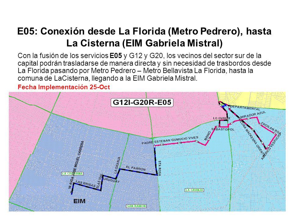E05: Conexión desde La Florida (Metro Pedrero), hasta La Cisterna (EIM Gabriela Mistral)