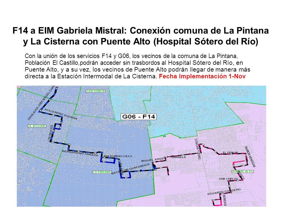 F14 a EIM Gabriela Mistral: Conexión comuna de La Pintana y La Cisterna con Puente Alto (Hospital Sótero del Río)