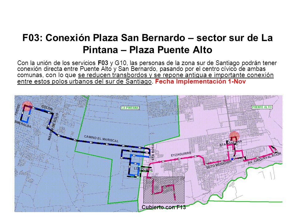 F03: Conexión Plaza San Bernardo – sector sur de La Pintana – Plaza Puente Alto