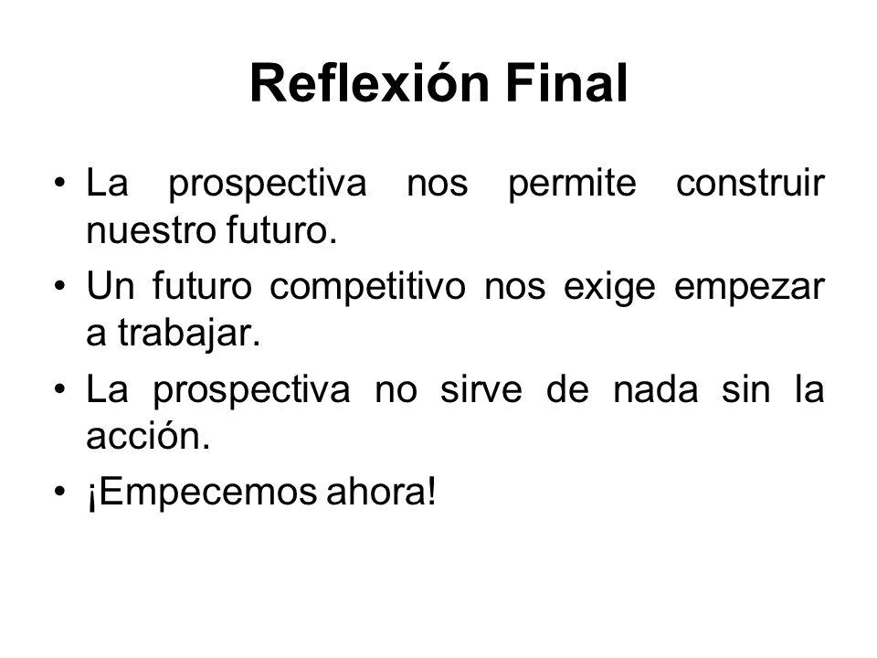Reflexión Final La prospectiva nos permite construir nuestro futuro.