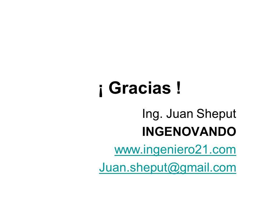 Ing. Juan Sheput INGENOVANDO www.ingeniero21.com Juan.sheput@gmail.com