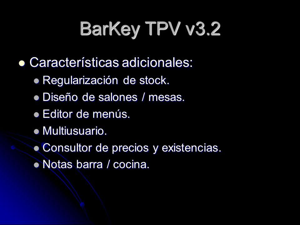 BarKey TPV v3.2 Características adicionales: Regularización de stock.