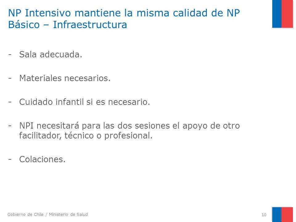 NP Intensivo mantiene la misma calidad de NP Básico – Infraestructura