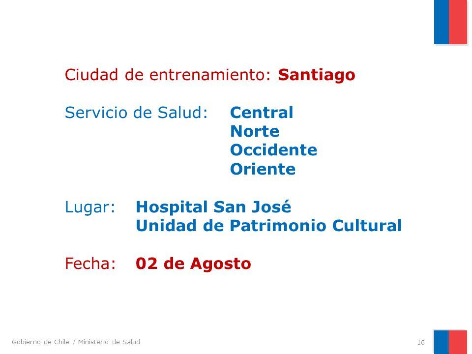 Ciudad de entrenamiento: Santiago Servicio de Salud:. Central. Norte