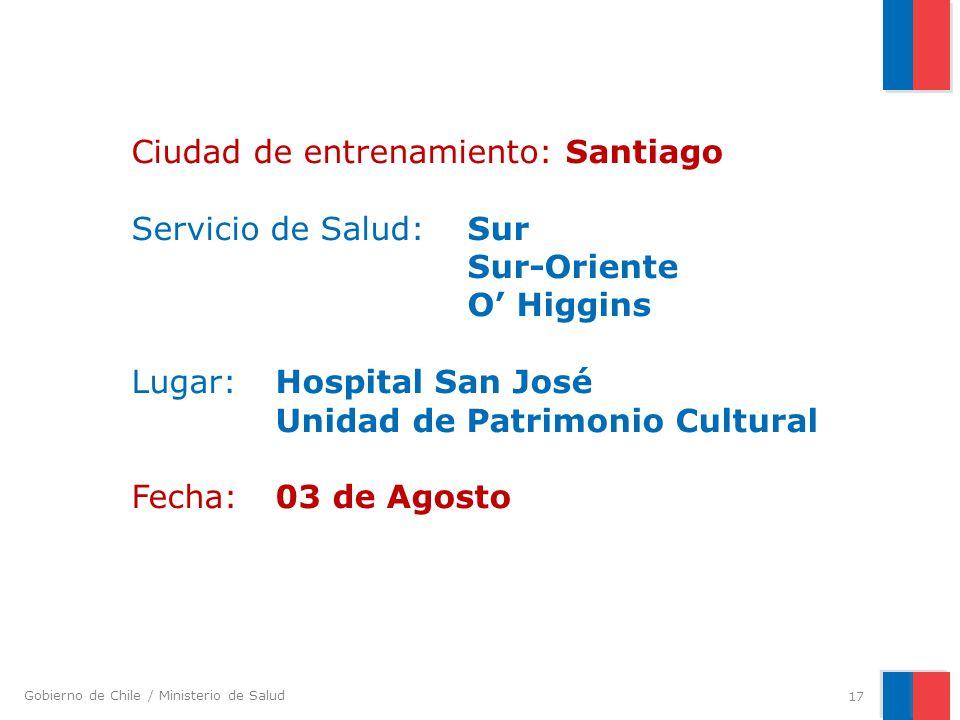 Ciudad de entrenamiento: Santiago Servicio de Salud:. Sur. Sur-Oriente