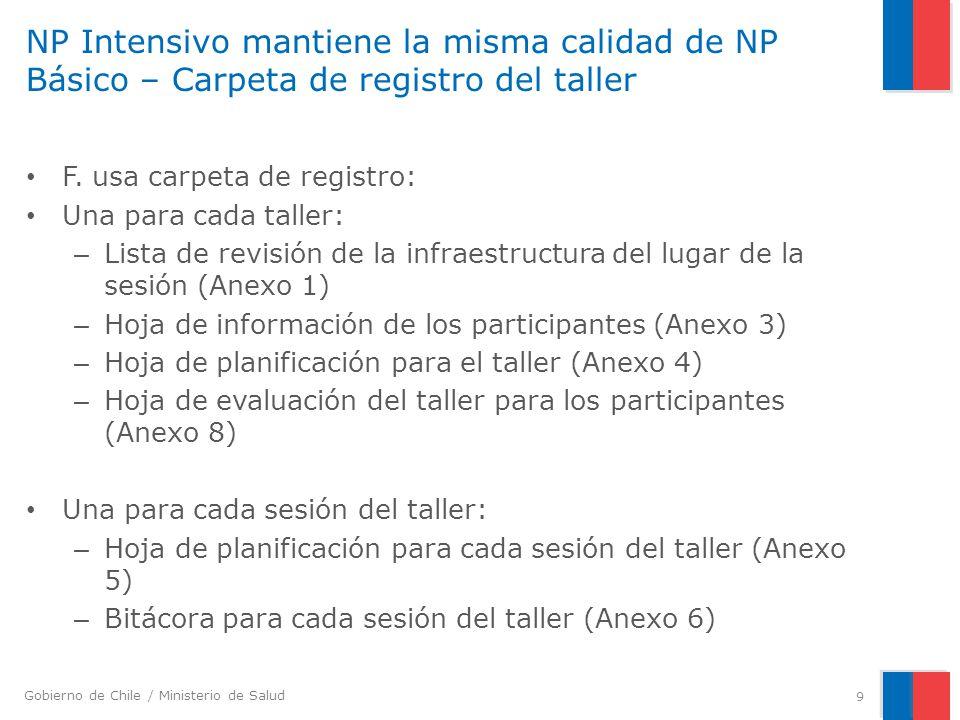 NP Intensivo mantiene la misma calidad de NP Básico – Carpeta de registro del taller