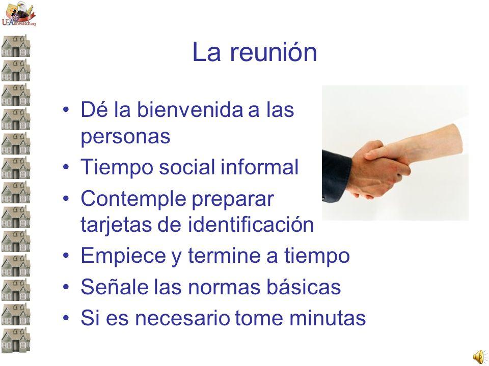 La reunión Dé la bienvenida a las personas Tiempo social informal