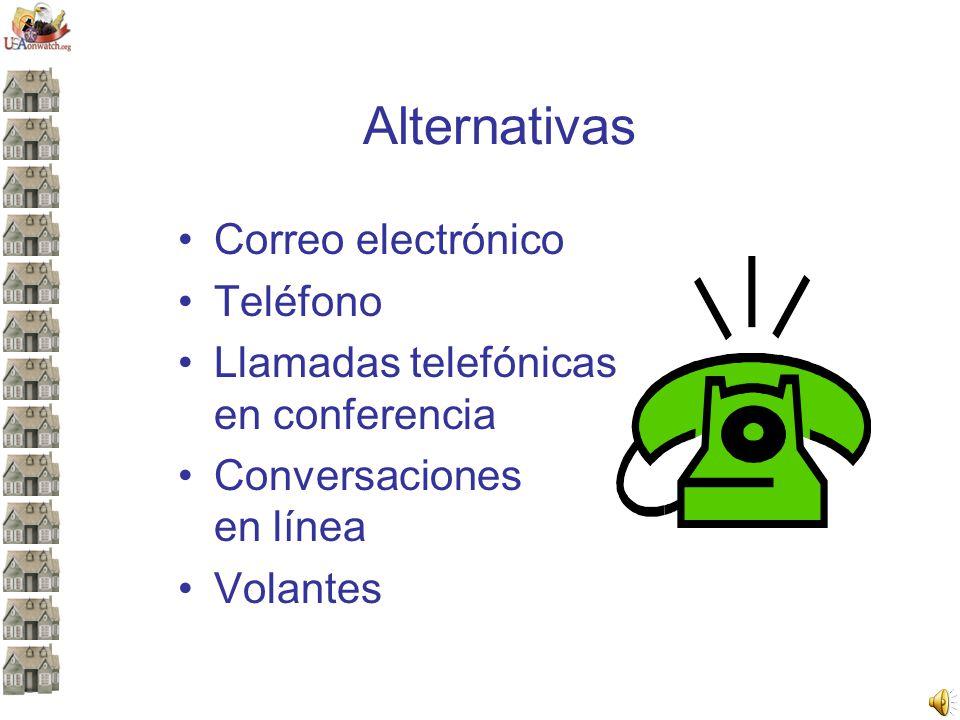 Alternativas Correo electrónico Teléfono