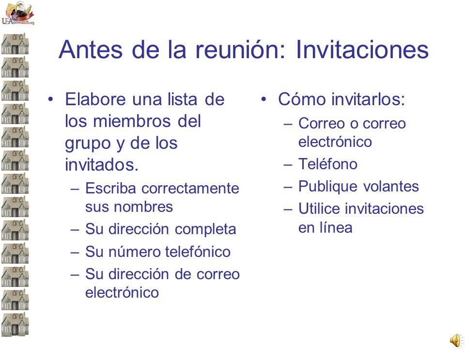 Antes de la reunión: Invitaciones