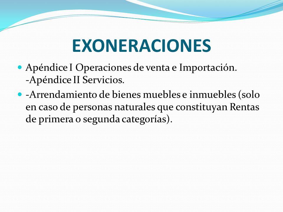 EXONERACIONES Apéndice I Operaciones de venta e Importación. -Apéndice II Servicios.