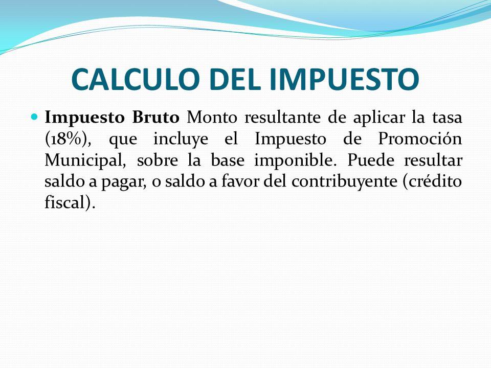CALCULO DEL IMPUESTO