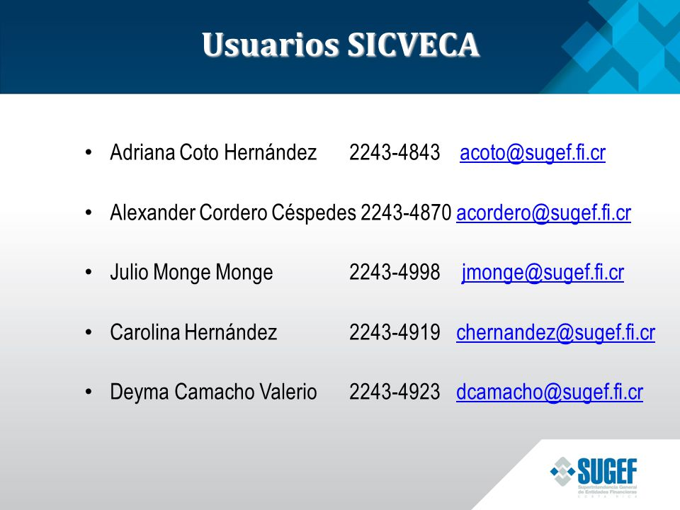 Usuarios SICVECA Adriana Coto Hernández 2243-4843 acoto@sugef.fi.cr